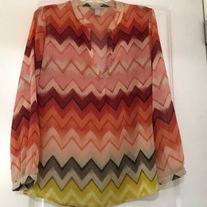 Banana Republic sheer top. Fall colors